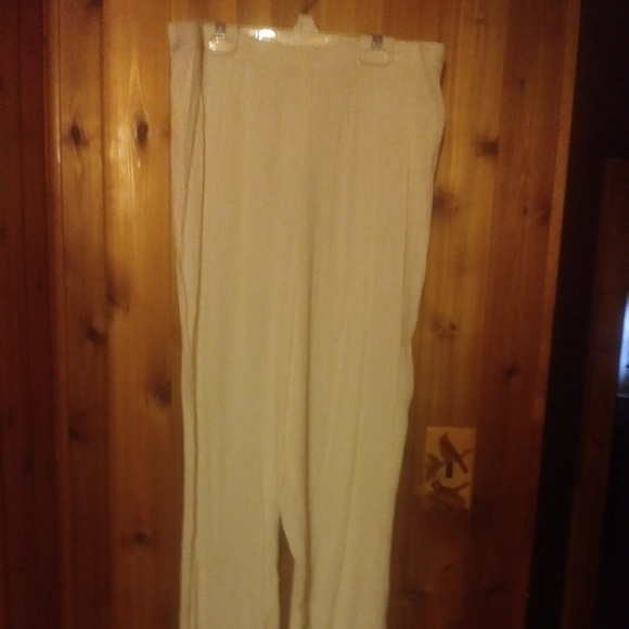DAVID ROSE Pants - DAVID ROSE IVORY CRINKLED DRESS PANTS - PLUS